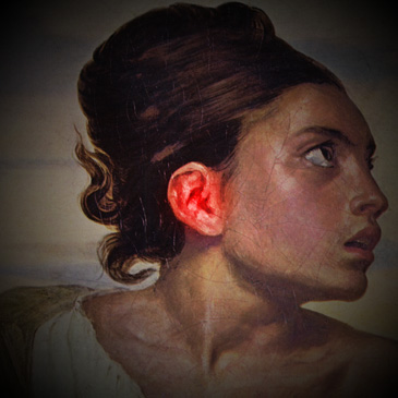Gemälde des Kopfes einer Frau, Seitenansicht, ihr Ohr ist rot eingefärbt