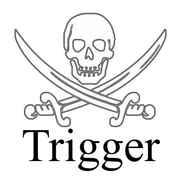 Schriftzug Trigger, darüber ein Totenkopf über gekreuzten Schwertern
