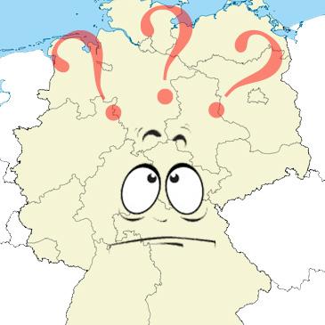 Deutschlandkarte mit Fragezeichen und einem ratlosen Comicgesicht