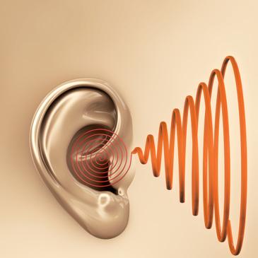 Zeichnung eines Ohres und einer roten Spirale
